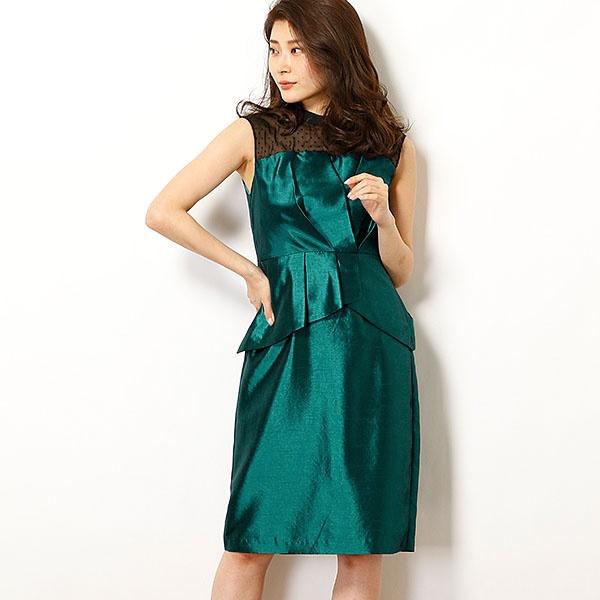 b6e597ec55d1c デコルテシースルー ドットチュールレース×シャンタン切替ペプラムワンピース/ドリードール(Dorry Doll) ワンピースドレス
