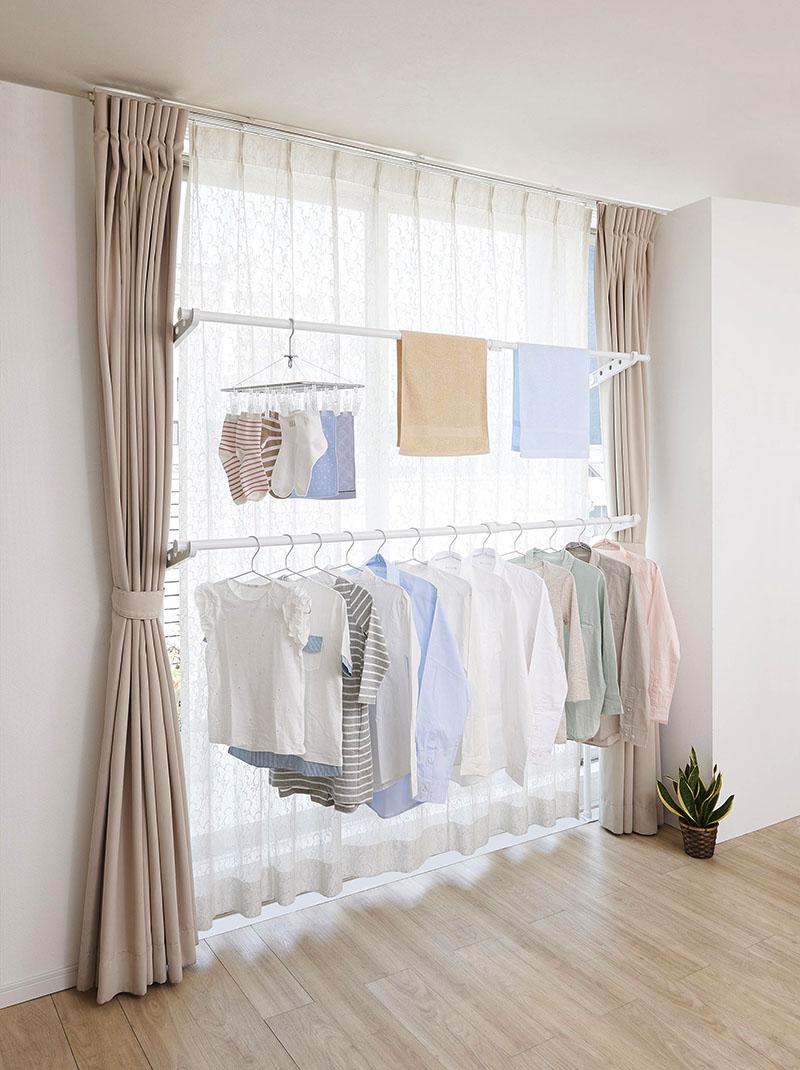 更换简单绷紧框架晾衣绳杆衣架双室内干燥道具强大棒棒糖衣架晾衣绳