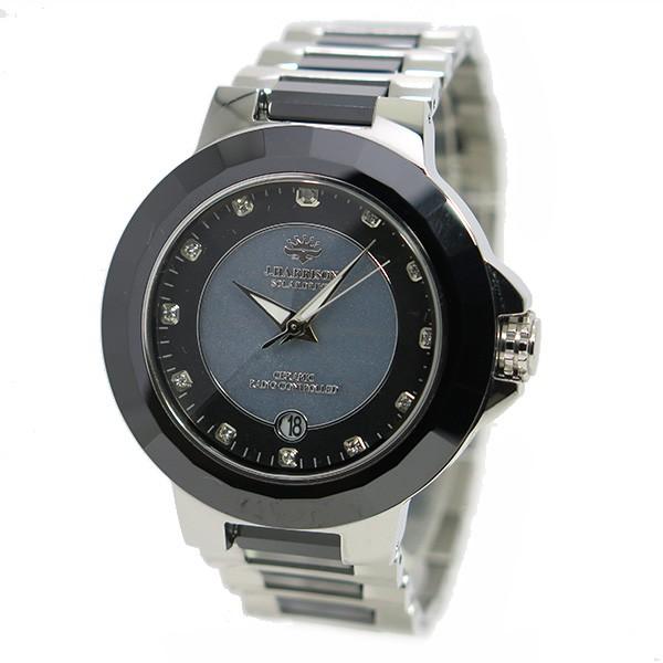 约翰· 哈里森太阳射电手表男式手表 jh 028sb 灰色和银色