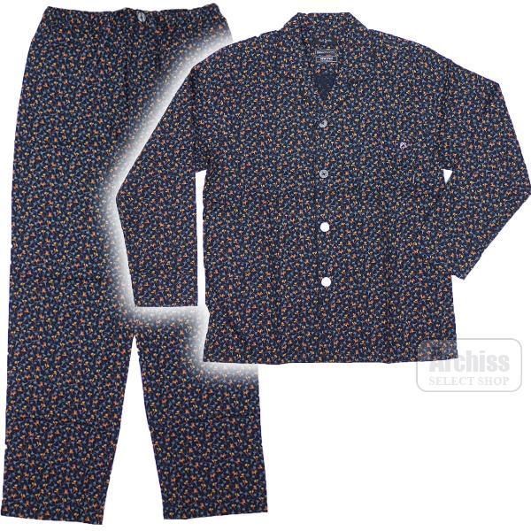 b425e1ef96ddf2 ポールスミス Paul Smith パジャマ 長袖 濃いネイビー カラー モノクロ 花柄 Mサイズ Lサイズ LLサイズ  30-8576-059S61611·S61114-17·S61614 【お洒落な花柄!