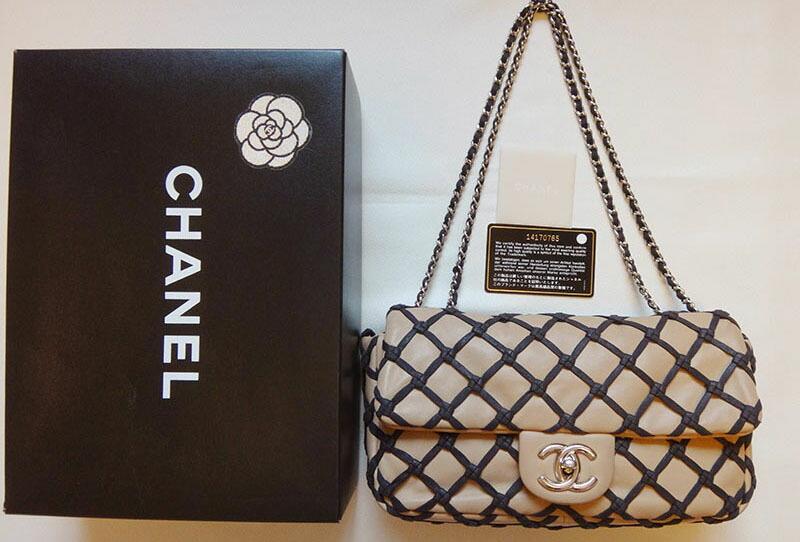 c9242297035b ... ポイント5倍全商品 CHANEL シャネル マトラッセ チェーン ショルダーバッグ 編みこみ レザー ベージュ×黒 稀少 レディース バッグ  鞄 かばん | c1000678