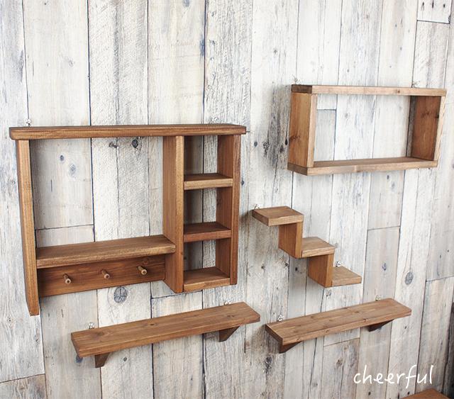 手工制作书架上棕色 ◆ 5 片集的 ◆ 墙货架 ◆ 天然货物自然 ◆ 墙架