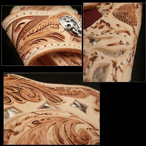骷髅雕花皮革骑车钱包蟒蛇/魟鱼 skull carved leather biker wallet