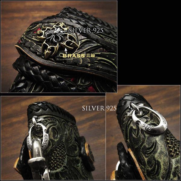 雕花皮革3/三折钱包骑车蟒蛇壳银色康乔钱包链 carved leather 3/tri