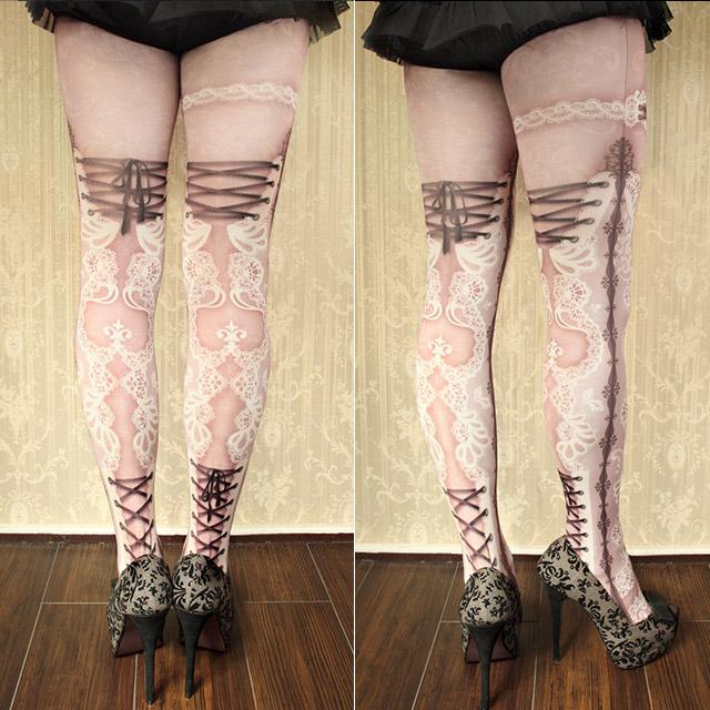 色爱avi_avietage 束腰紧身服双花边多莉粉红色的紧身衣的长筒丝袜双花边多莉
