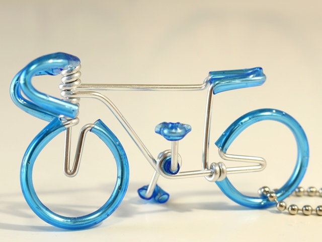 钥匙圈自行车主题自行车货物手工制作的自行车钥匙扣光蓝 f0083