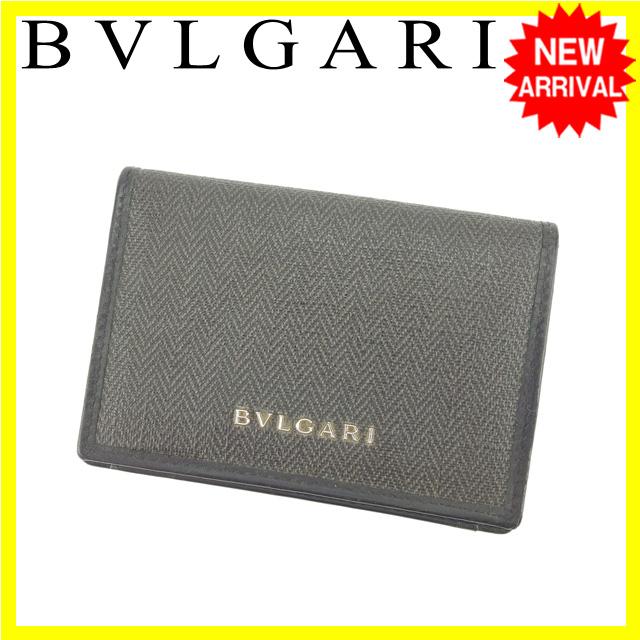 da724d269e29 ... ショルダーバッグ   ブランド財布   ピアス   ブルガリ BVLGARI 名刺入れ カードケース 男女兼用 ブラック×グレー  PVC×レザー (対応)良品 Y3748s