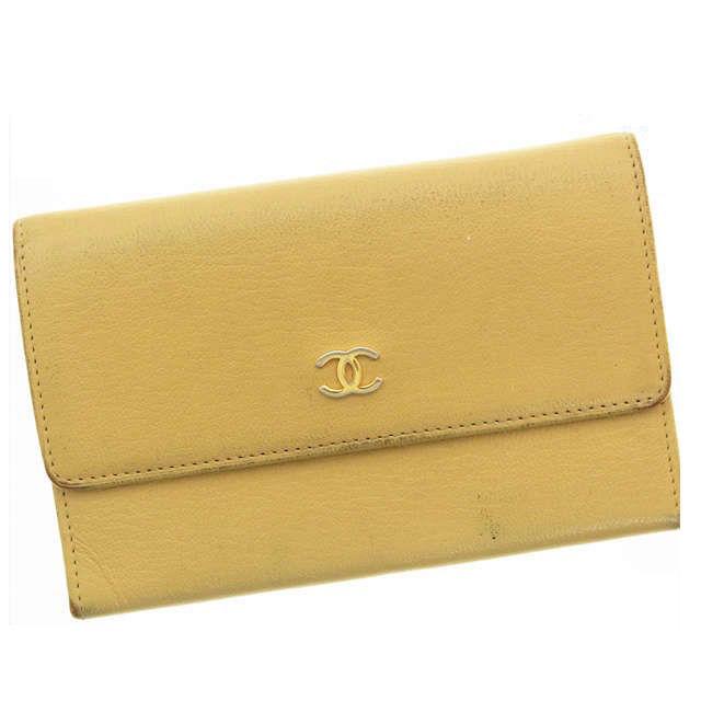 ec4ed48fefd5 【】 シャネル Chanel 二つ折り財布 財布 ベージュ ココマーク レディース M337s 二つ折り財布 ブランド 使いやすい ブランド ポケット  レディース メンズ 可