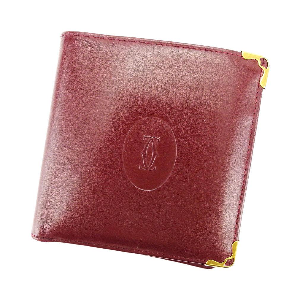 中古】 カルティエ Cartier 二つ折り財布 財布 ボルドー