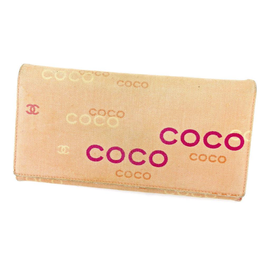 48835cc84537 ... バッグ   ブランド財布   ピアス   シャネル Chanel 長財布 財布 ファスナー付き 財布 財布 ピンク系×ゴールド オールドシャネル  COCOプリント レディース T4394s ...
