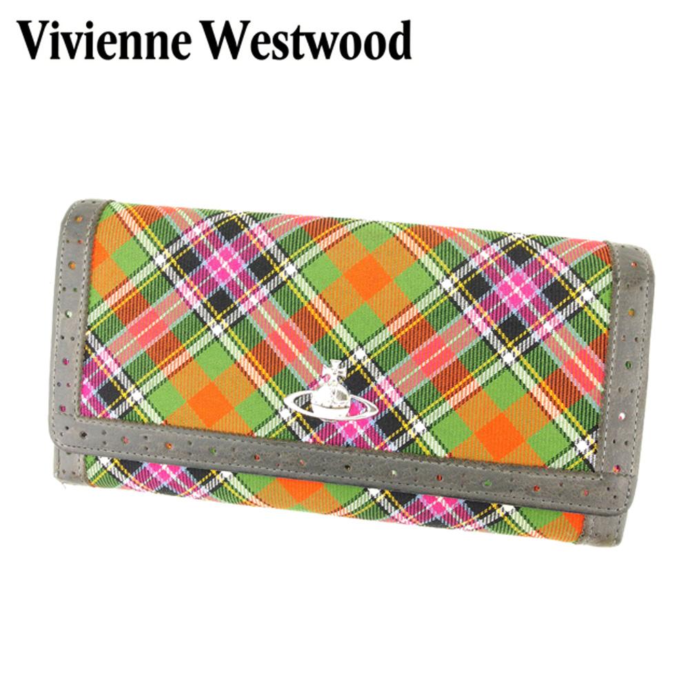 d78e5e270666 ... ウエストウッド Vivienne Westwood 長財布 ファスナー付き 長財布 レディース チェック グレー 灰色 レッド グリーン  キャンバス×レザー 人気 セール Q537