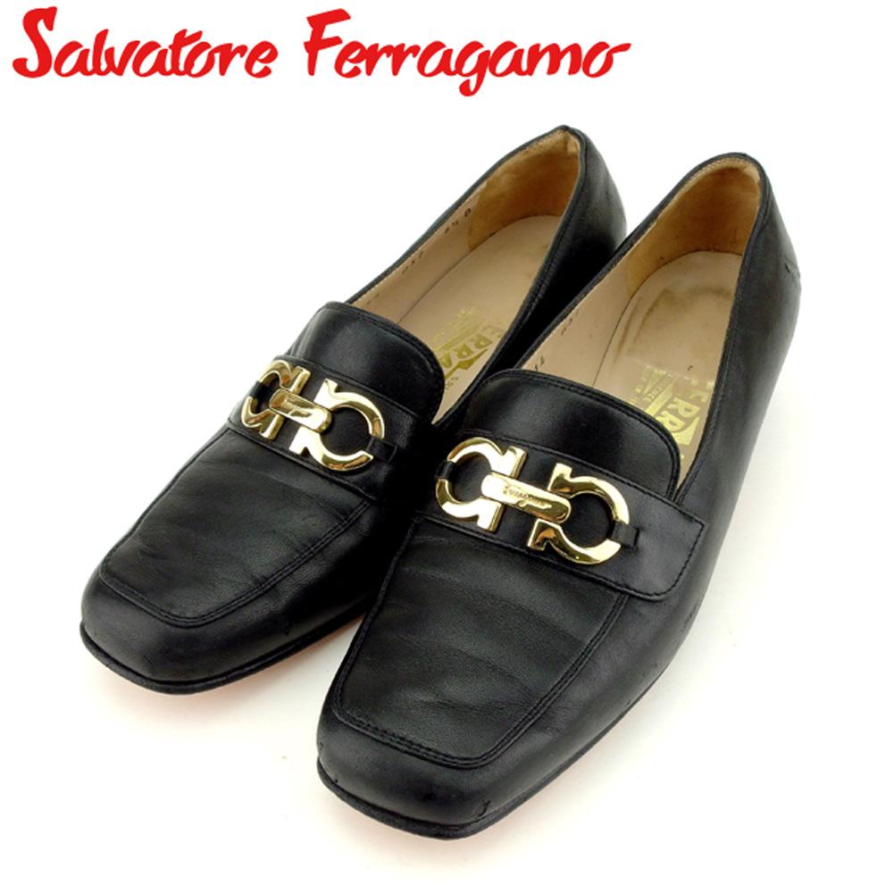 64802aca05fc ... フェラガモ Salvatore Ferragamo パンプス シューズ 靴 レディース ·6ハーフD ローファー ガンチーニ ブラック  ゴールド レザー 人気 セール F1479