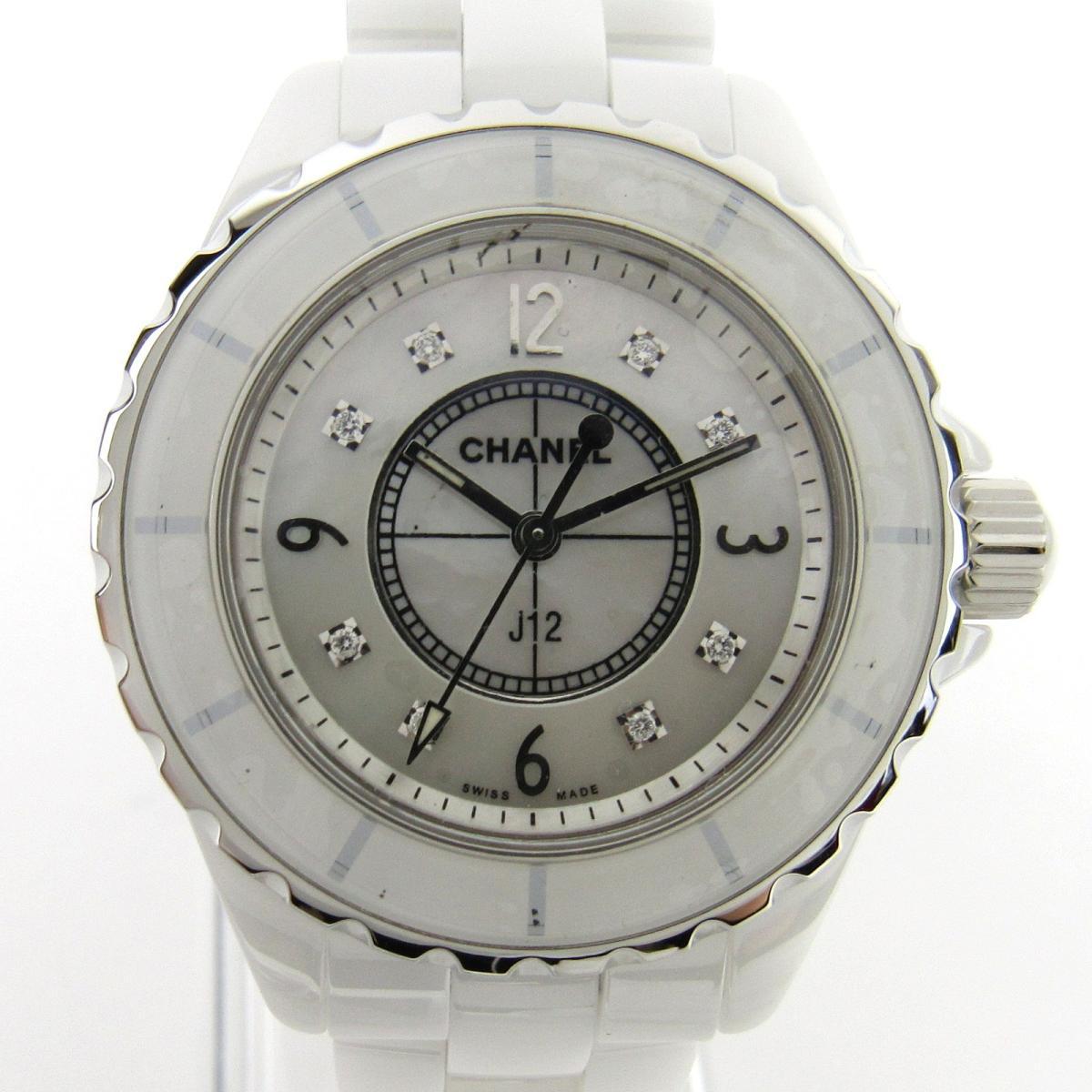 cfd4f2eb10f2 ... シャネル J12 8Pダイヤ ウォッチ 腕時計 レディース ステンレススチール (SS) x セラミック (H2422) | CHANEL  クオーツ 時計 J12 8Pダイヤ 美品 ブランドオフ