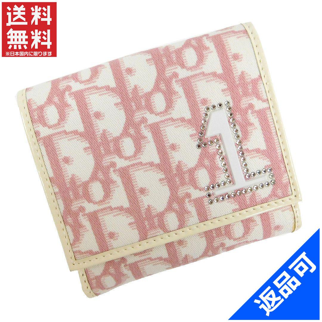 887ba459919f ディオール Christian Dior 二つ折り財布 Wホック財布 ホワイト×ピンク キャンバス×レザー 即納 【】 X12124 状態コメント  使用感はありませんが。
