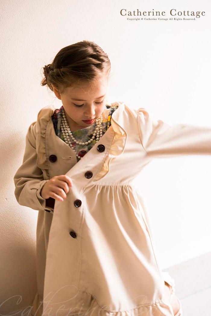 孩子们的衣服女孩皱风衣 [孩子衣服女孩正式服装冬天穿 120 130 140