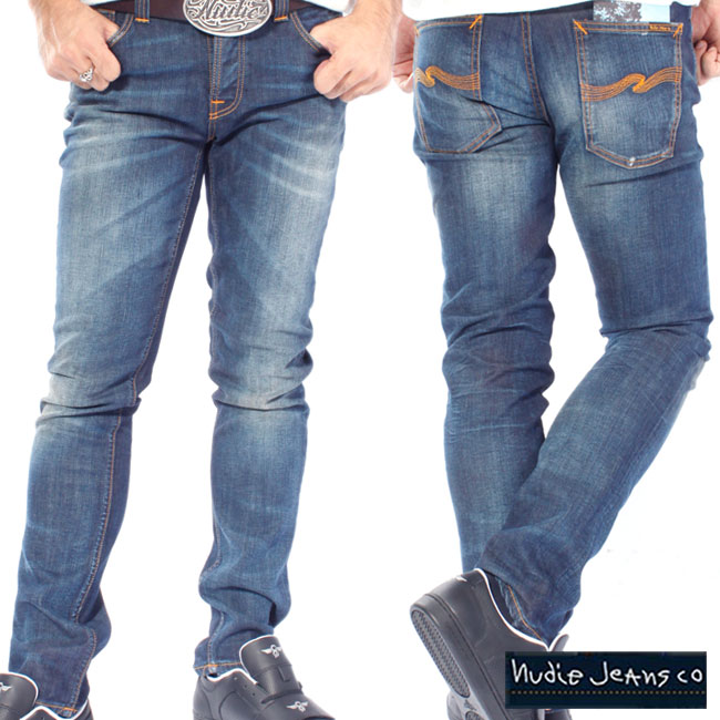 White Knee Nudie Mens Slim Fit Stretch JeansGrim Tim Org