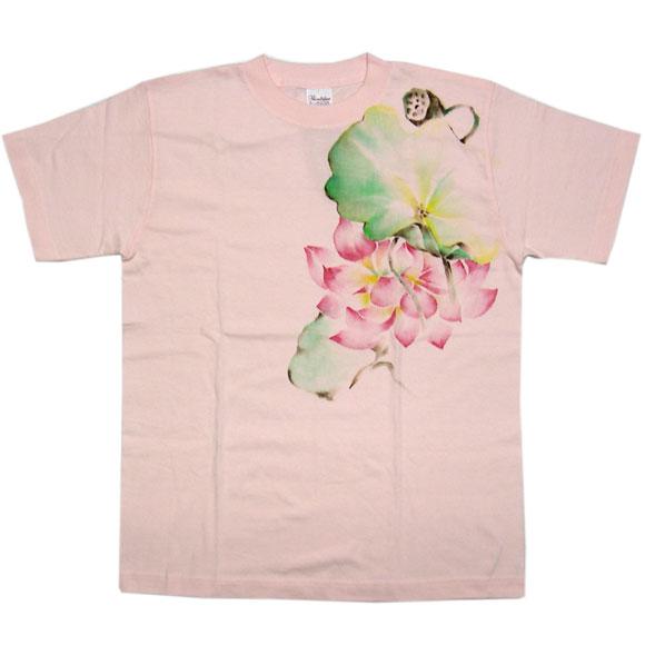 种子夫人艺术家杉田亮毅沘生物手绘的日本模式 t 衬衫粉色荷花叶和花