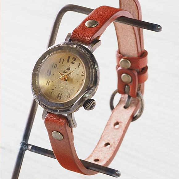 (女) [wb-013s] 手工手表手工手表古董模拟皮革带简单滋贺县大津时钟