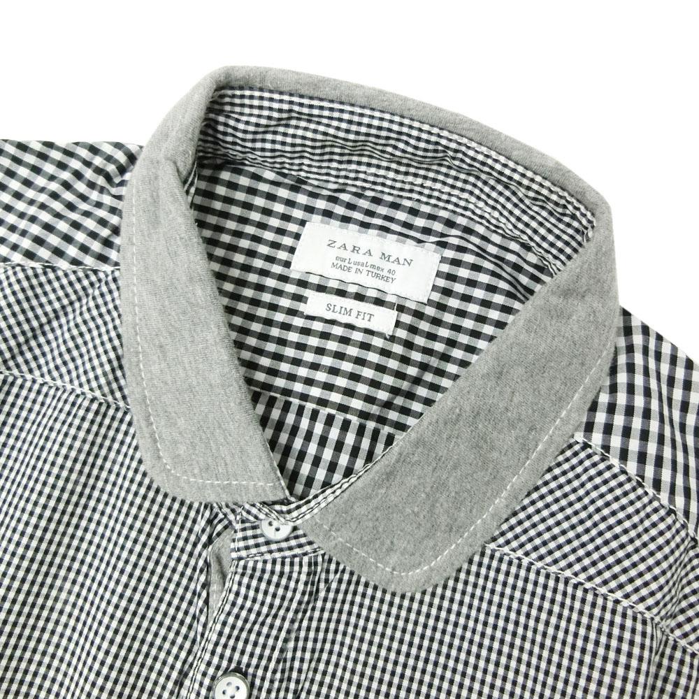 美品zara man zaraman转换格子花纹短袖衬衫(女衬衣茄克内部)077656