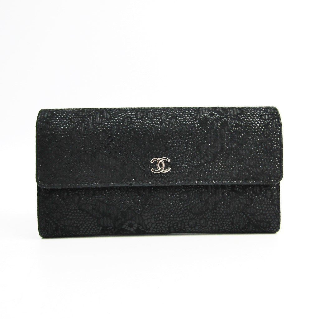 8dd76b6e3b66 シャネル(Chanel) レディース スエード 長財布(二つ折り) ブラック 【】