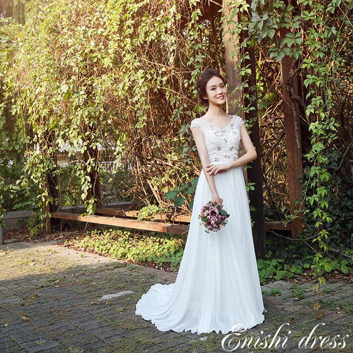 fc1ff5f462e0f ウェディングドレス シフォンドレス 手縫い 真珠 パール ビーズ 装飾 ...