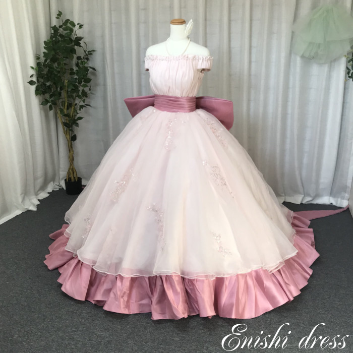 ウェディングドレス カラードレス ピンク リボン オフショルダー