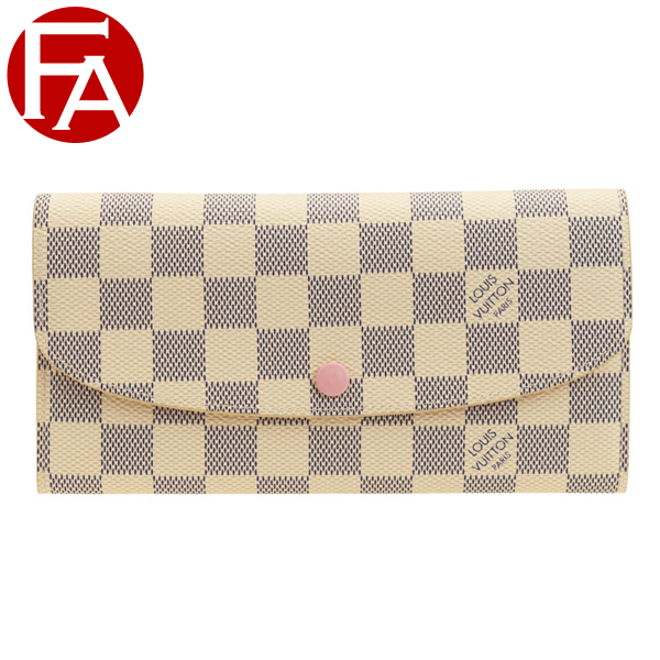 b584f917475a ルイヴィトン/LOUIS VUITTON [ サイフ ] 財布 ポルトフォイユ?エミリーダミエ?アズール キャンバスに柔らかなピンク色を合わせた上品な 長財布です。
