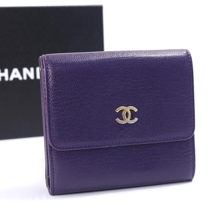b9647321d78f 【】シャネル 三つ折り財布 Wホック パープル CHANEL [送料無料] [10P1903][送料無料][][小物]ブランド 女性 人気 紫色  コンパクトで使いやすいシャネルの三つ折り財布 ...