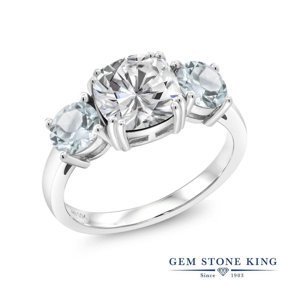 Argent 925 et 10K rose gold ring Forever Classic créé MOISSANITE et diamant