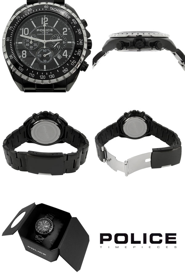 Mens Watch Police Chronograph Formal Fashion Shinjuku Silver Collection Free Shipping New Navy Black
