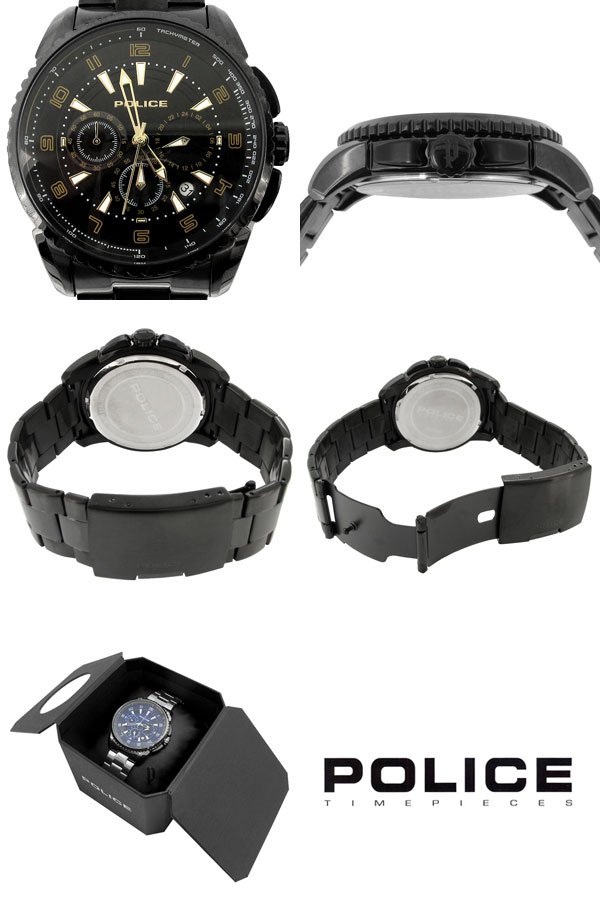 Mens Watch Police Chronograph Formal Fashion Shinjuku Silver Collection Free Shipping And Flare Black