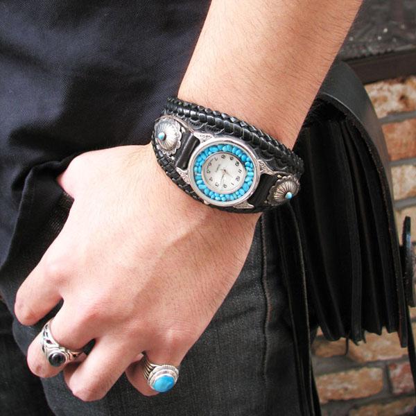 正宗手工钩针手工手腕的手表皮革手表 ysw3