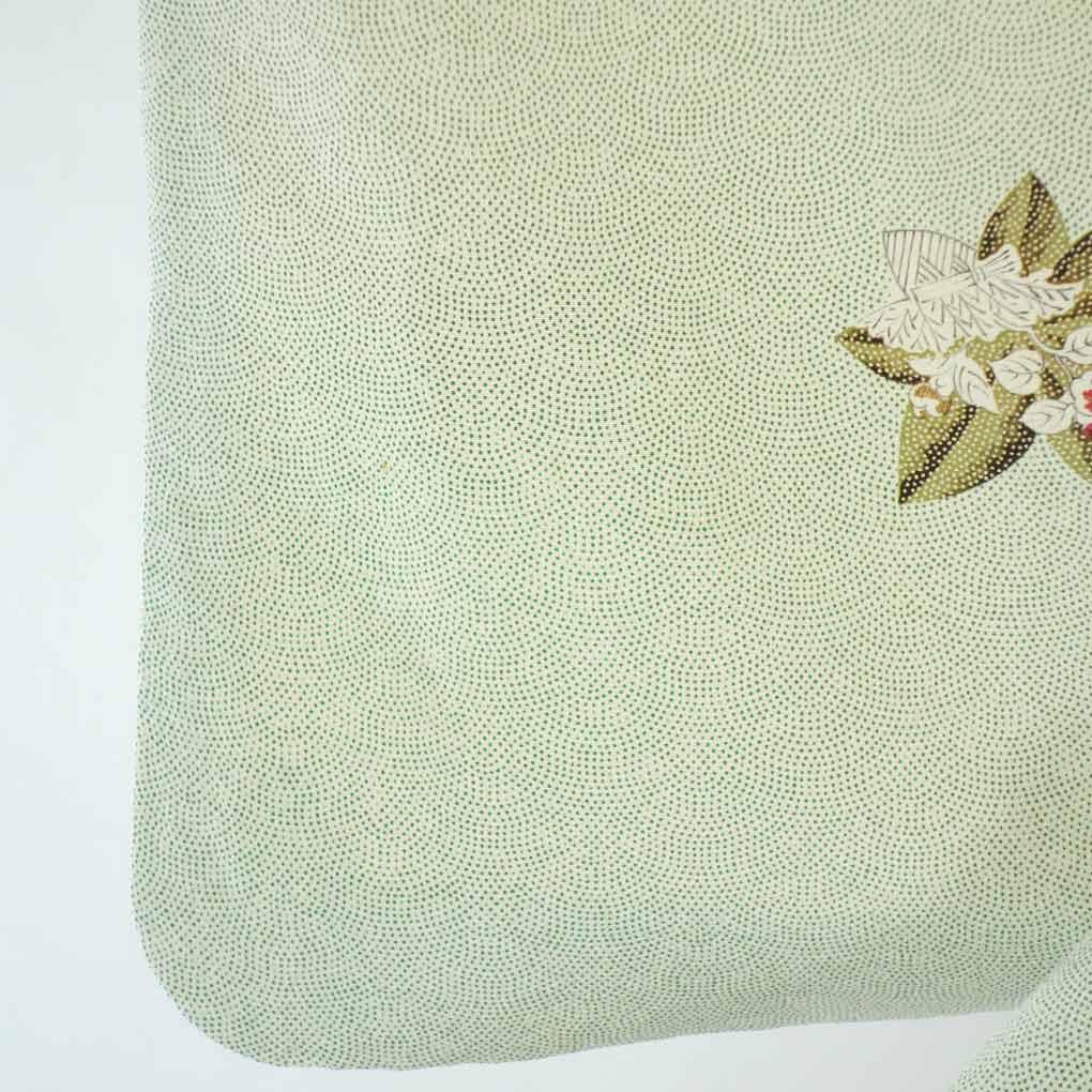 再利用和服小花纹/纯丝淡淡地绿色的袷小纹着物/女士(旧衣服再利用
