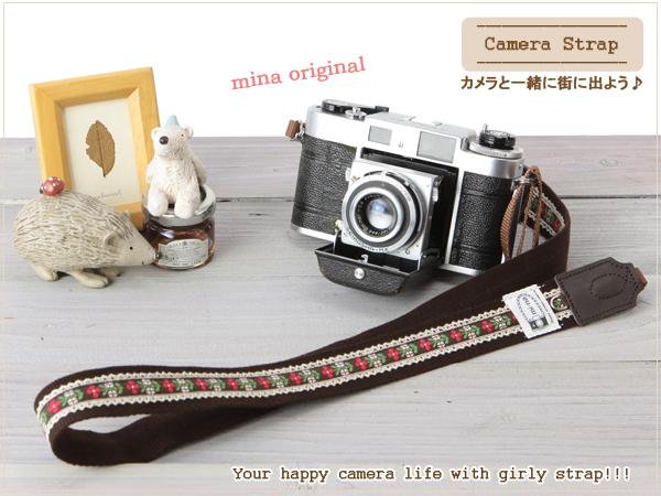 单反相机 / 也 / 妇女的照相机吊带和提洛尔 [红色花亚麻花边.
