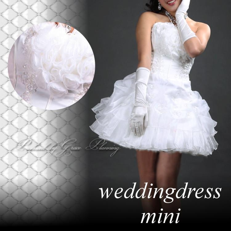 725d8557f538f ... ドレス ショート ミディアム丈 結婚式 二次会 花嫁衣裳(or-cxy142)