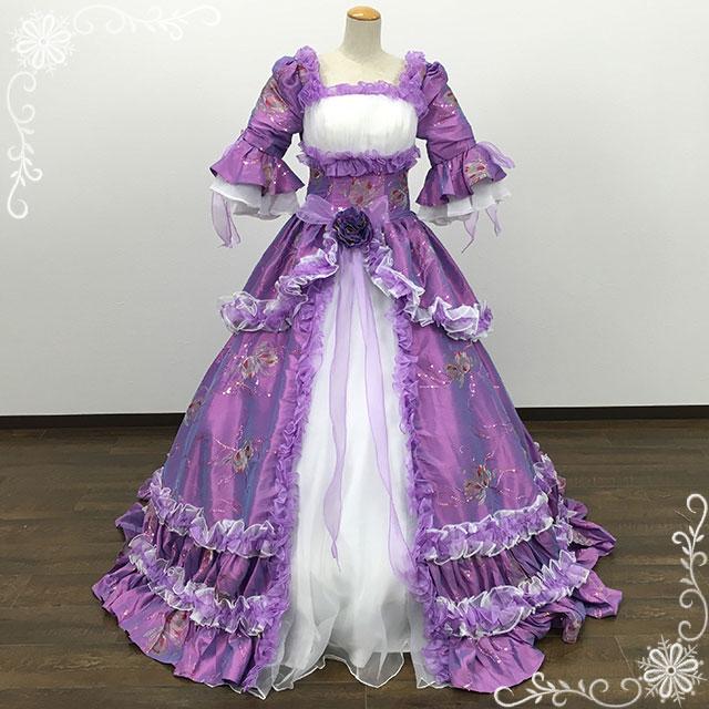 中世貴族風ロングドレス・お姫様ドレス(7号,9号,11号/ラベンダー
