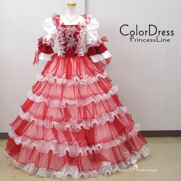 a80f2c662147e 豪華なプリンセスラインのお姫様ドレス。 オペラ 声楽 演劇 発表会 演奏会などの舞台衣装 ステージ衣装にお勧めのロングカラードレスです。 イベントや コスプレにも