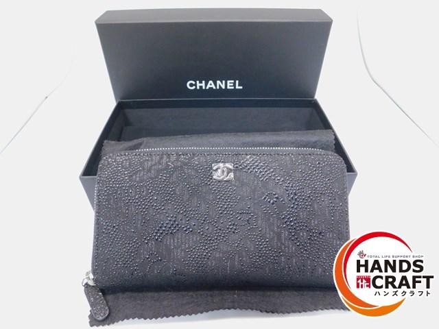 4300c0ce11cc 【未使用】CHANEL シャネル 長財布 ラウンドファスナー ブラック 柄 黒 カードあり 【】【新古品】管理番号 MD146 珍しいデザインのお財布 です☆