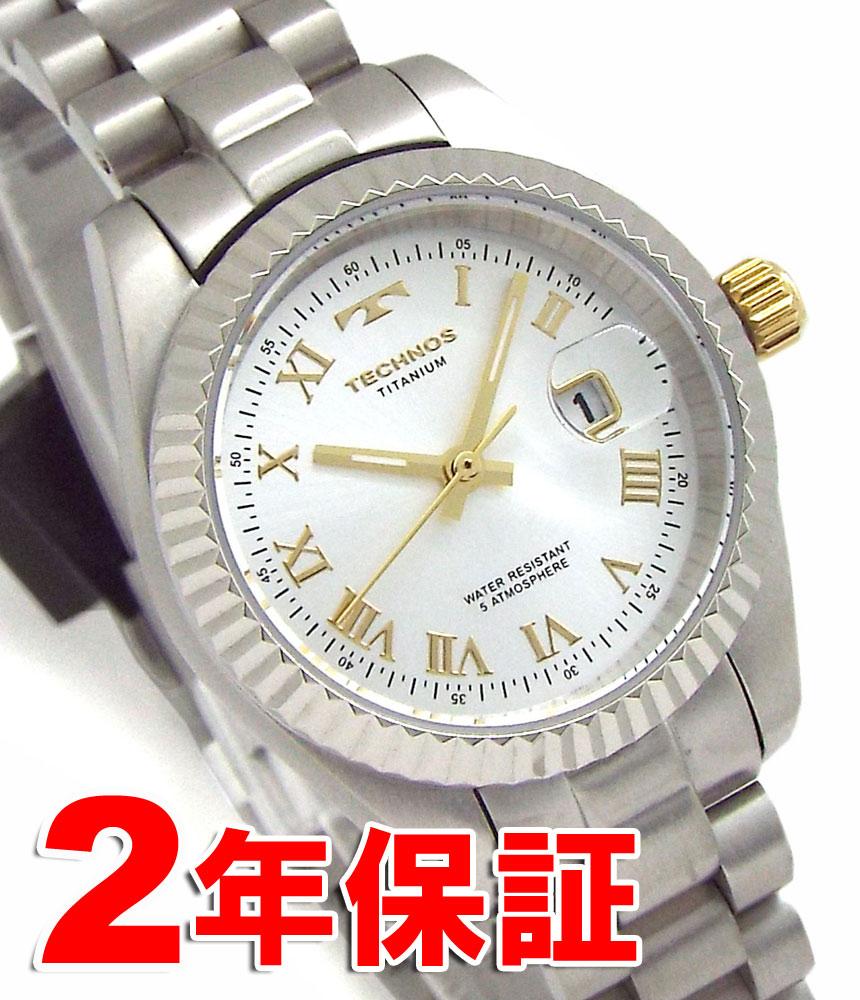1c2d727601 TECHNOS テクノス レディース 軽い 軽量 チタニウム チタン ローマインデックス デート表示付 シルバー 腕時計 バンド調節工具付属  TSL915IS