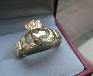 Hallmarked 9ct Yellow Gold Ladies Irish Claddagh Ring