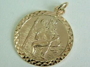 St Christopher Pendant 9ct Gold Yellow Rose or White UK Hallmarked