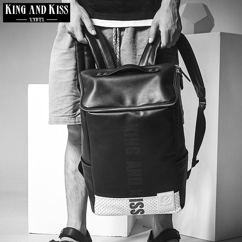 5a6fa1ab60a4 ... スクエアバック バッグ バイカラー ドット リュックサック PU レザー バックパック 個性的 通学 男 鞄 個性的 V系 原宿系  ストリート系 人気 韓国 ファッション ...