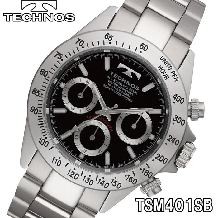 eb42bc9c0c27 TECHNOS SWISS 腕時計 メンズ クロノグラフ 10気圧防水 テクノス TSM401SB テクノス メンズ腕時計 クロノグラフ  オールステンレス