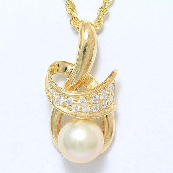 702b08099fe2 真珠 パール/ダイヤモンド 計0.33ct ネックレス 18金イエローゴールド(K18YG) 【】 ジュエリー 【新品仕上げ済み】 netshop