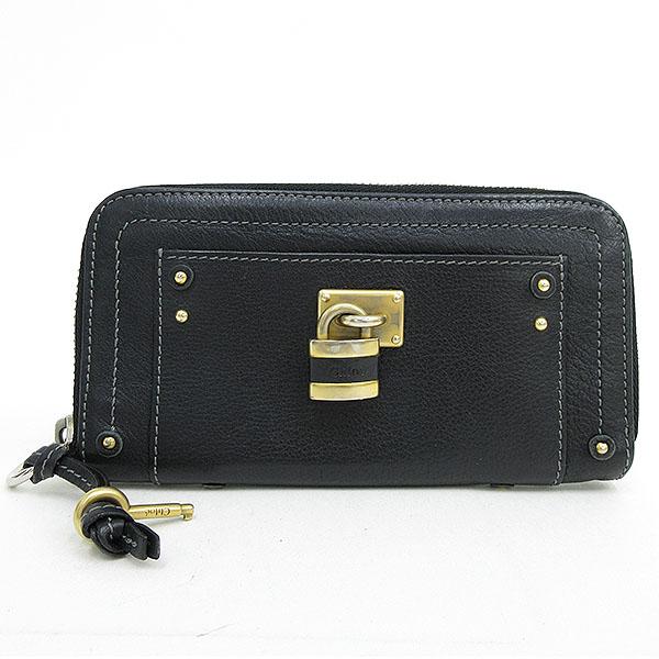on sale 045a2 da358 chloe(クロエ) パディントン ラウンドファスナー長財布 黒 ...
