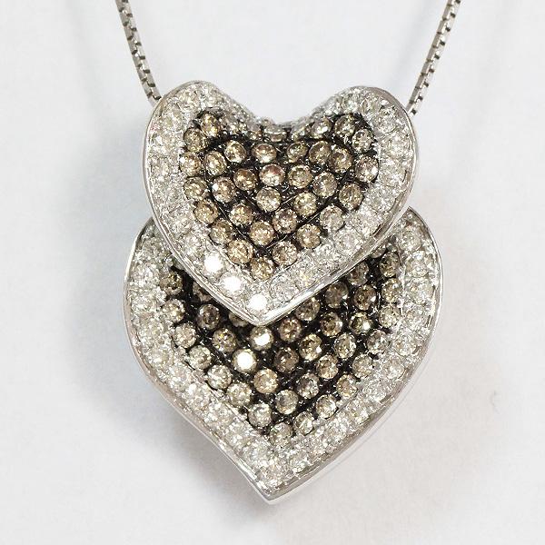 e4ca83c3a35d ダブルハート ブラウンダイヤモンド?ダイヤモンド 計1.83ct ネックレス 18金ホワイトゴールド(K18WG) 【】 ジュエリー 【新品仕上げ済み】  netshop