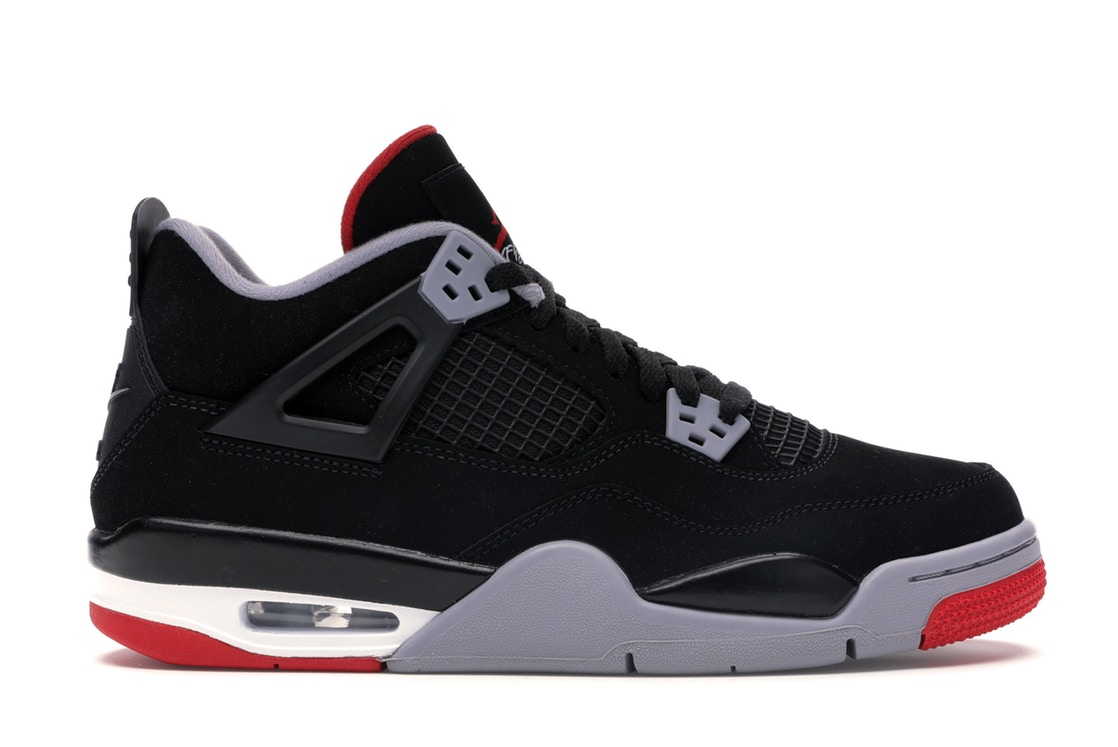 """Air Jordan 4 """"Bred 2019"""" Black and Cement Grey Fire Red For Sale"""