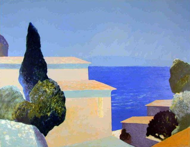 羅杰·黑尾鹿海邊的房子石版畫