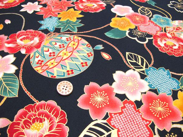 和睦柄布料日式花纹和服风花和手球深的黑色