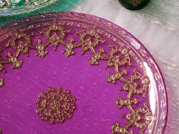 阿拉伯式花纹装饰板民族装饰玻璃盘子 / 土耳其-粉红色-Φ 28 厘米